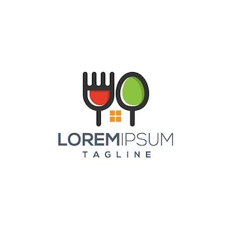 Фуд хаус ресторан креативная концепция логотип шаблон