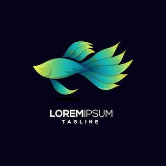 カラフルなアクア魚のロゴのテンプレート