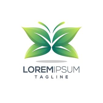 Шаблон логотипа листьев зеленой бабочки