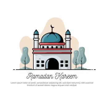 Плоский рамадан карим приветствие иллюстрации.