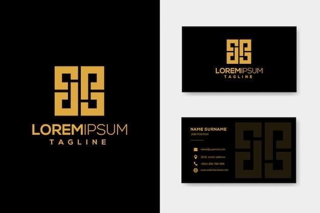 Письмо дп роскошный логотип шаблон с визитной карточкой