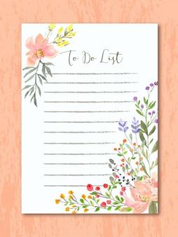 花の水彩画でリストを行う