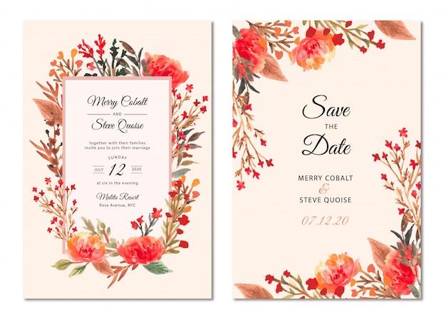 結婚式の招待状の美しい花のフレームの水彩画