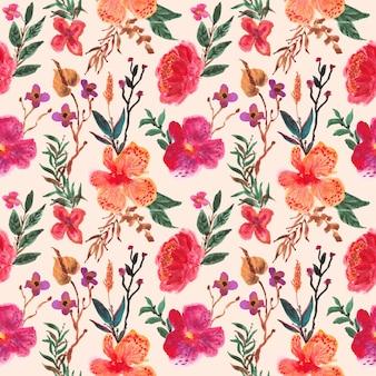 蘭の花の水彩画のシームレスパターン
