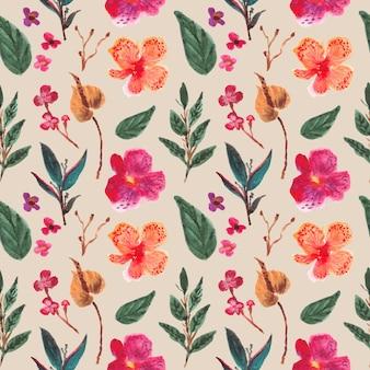 かなり蘭花水彩シームレスパターン