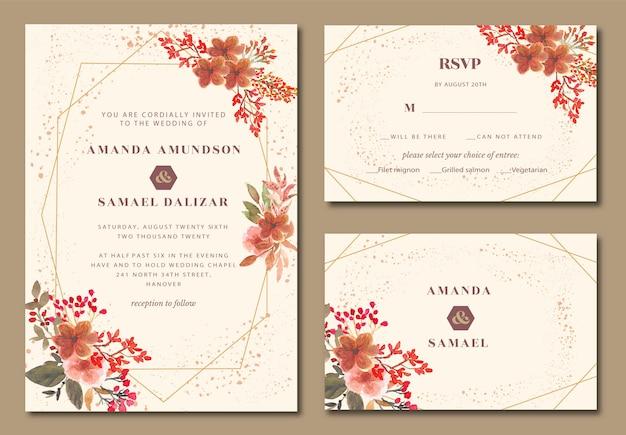 花の水彩画の結婚式の招待状と幾何学的