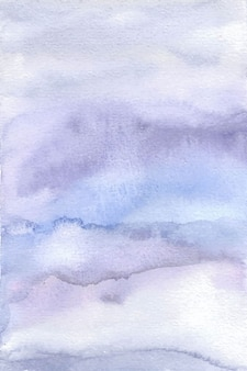 ソフトバイオレットブルー抽象的な手絵画水彩画