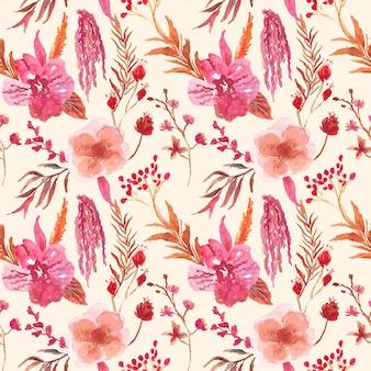 あずき色の蘭の花の水彩画のシームレスパターン