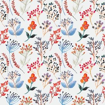 ビンテージカラフルな花水彩シームレスパターン