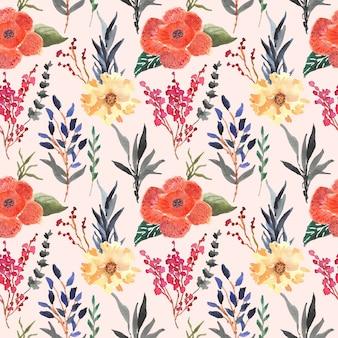 ラフレシアアルノルディ花水彩シームレスパターン