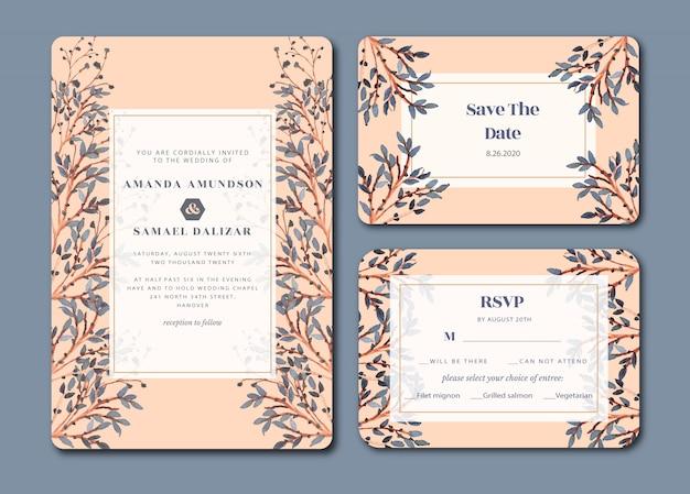 美しい葉の水彩画の結婚式の招待状