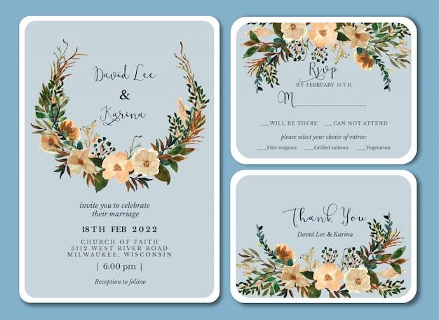 Мягкое синее винтажное свадебное приглашение с цветочной акварелью