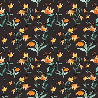 水彩花のシームレスパターン