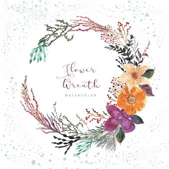 Красивый цветочный и веточки акварельный венок