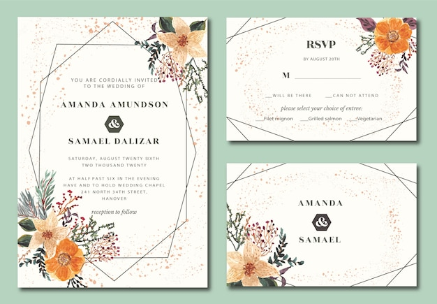 Свадебное приглашение геометрическое с цветочной акварелью орхидеи