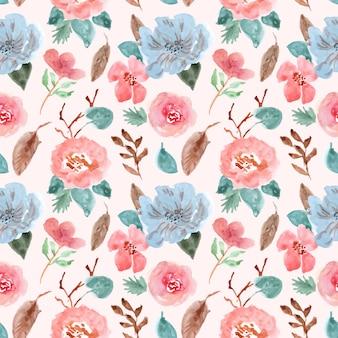 ブルーピンク花柄水彩画シームレスパターン