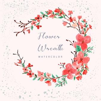 Сакура цвести цветочный венок акварель