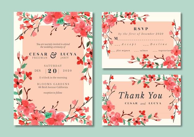 Сакура цвести свадебные приглашения акварель