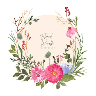 Красивый цветочный сад акварельный венок