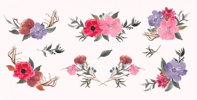 Акварельная коллекция красивых цветочных композиций