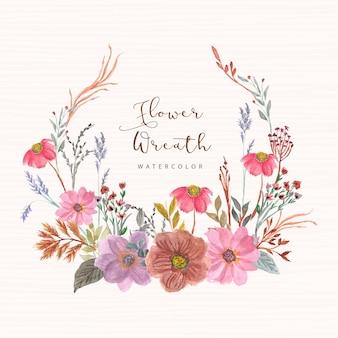 Красивый винтажный цветочный акварельный венок