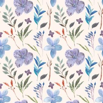 Красивый фиолетовый цветок акварель бесшовный фон