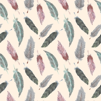 Красивая перья бохо акварель бесшовные шаблон