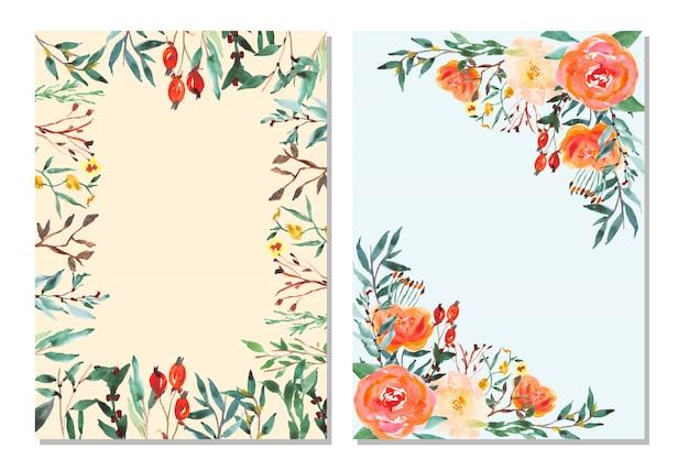 水彩花のフレームと多目的カード