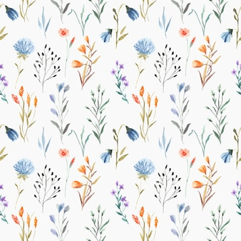 青色の背景に葉を持つ美しいシームレスな花水彩