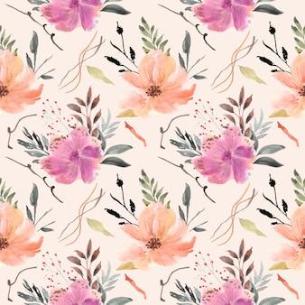 美しい花の水彩画のシームレスパターン
