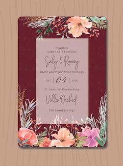花の水彩画と栗色の招待状