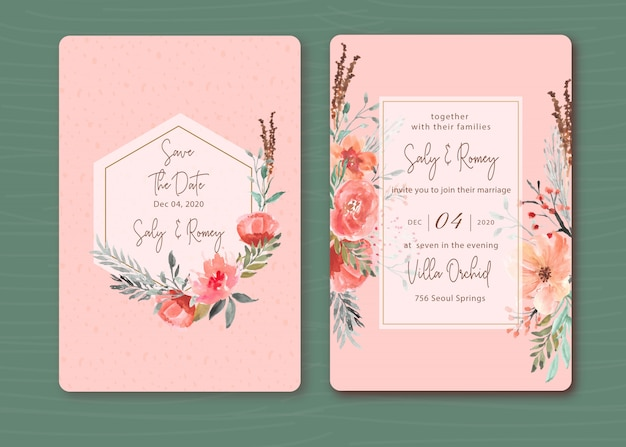美しい花の水彩画とピンクの招待状