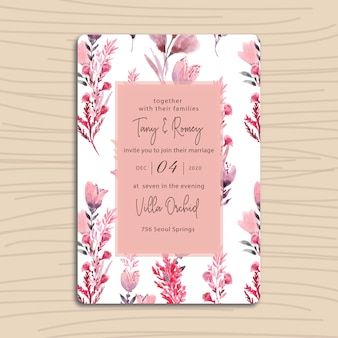 花の水彩画との結婚式の招待状