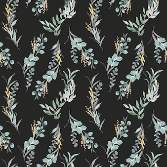 水彩パターンと葉の配置
