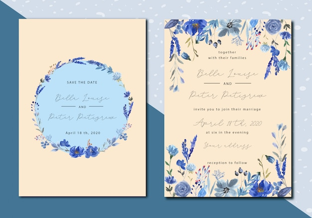 青い花の水彩画とビンテージのウェディング招待状