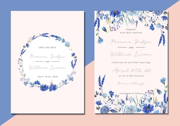 青い花の水彩画の結婚式の招待状