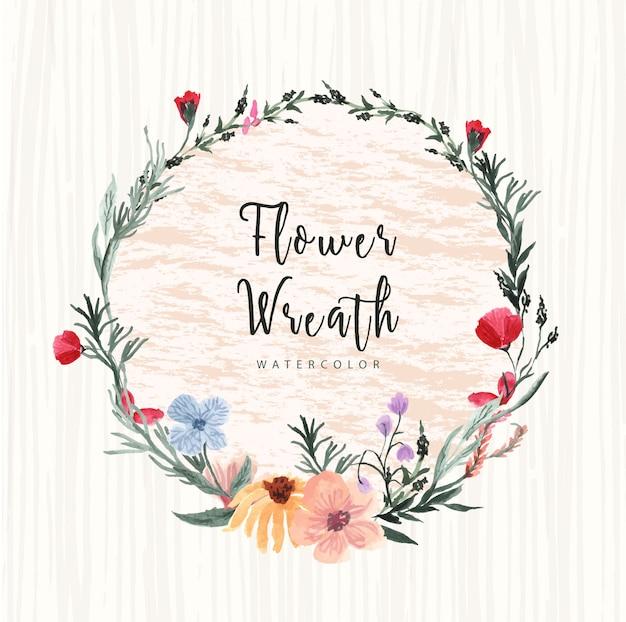 きれいな花と枝の水彩花輪