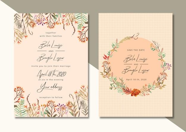 秋の花の水彩画での結婚式の招待状