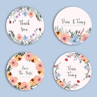 花輪スタイルの花の水彩画の結婚式ラベルコレクション
