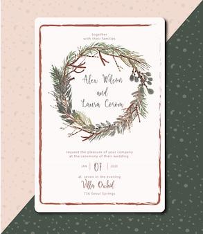 結婚式の招待状常緑の葉と素朴な水彩画