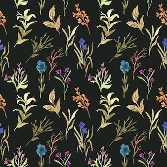 水彩のシームレスパターン野生花緑の葉