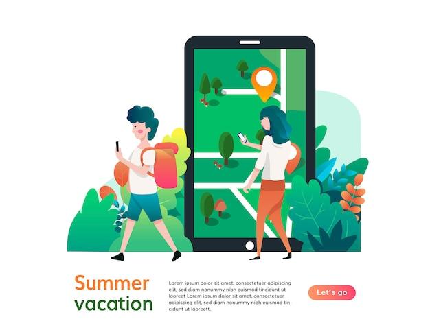 Шаблон сайта летних каникул, дизайн веб-страницы и целевой страницы для разработки сайта