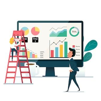 Бизнесмен, представляя инфографику