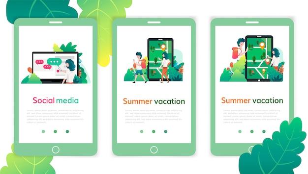 Набор шаблонов дизайна веб-страницы для социальных медиа, летних каникул. современные векторные иллюстрации концепции для веб-сайтов и мобильных веб-сайтов.