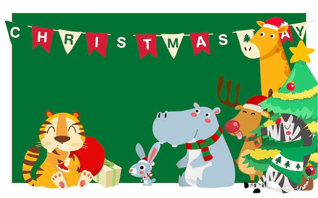 Счастливого рождества. рождество симпатичные животные характер. счастливого рождества товарищи.