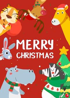 タイガー、ウサギ、カバ、キリン、トナカイ、シマウマとメリークリスマスのグリーティングカード。