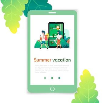 ウェブサイト開発のための夏休みモバイルテンプレート、ウェブページおよびランディングページデザイン。