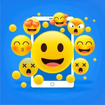 Реалистичные счастливые желтые смайлики перед мобильным, иллюстрация