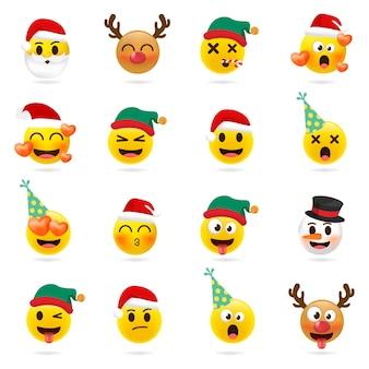 Рождественский смайлик установлен. праздничный набор рождественских символов лица с различными эмоциями.