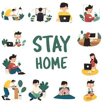 Работа на дому, концепция иллюстрации. внештатные люди, работающие на ноутбуках и компьютерах из дома. плоский стиль иллюстраций.